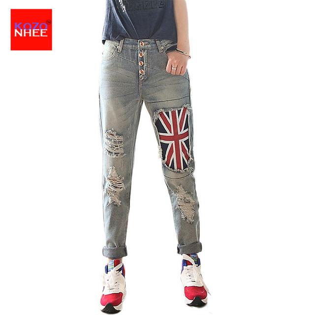 Remendo da bandeira Holes Ripped Boyfriend Jeans Mulheres Com Calça Jeans de Cintura Alta Para As Meninas Com Joelhos Rasgados Calças Soltas Mulheres