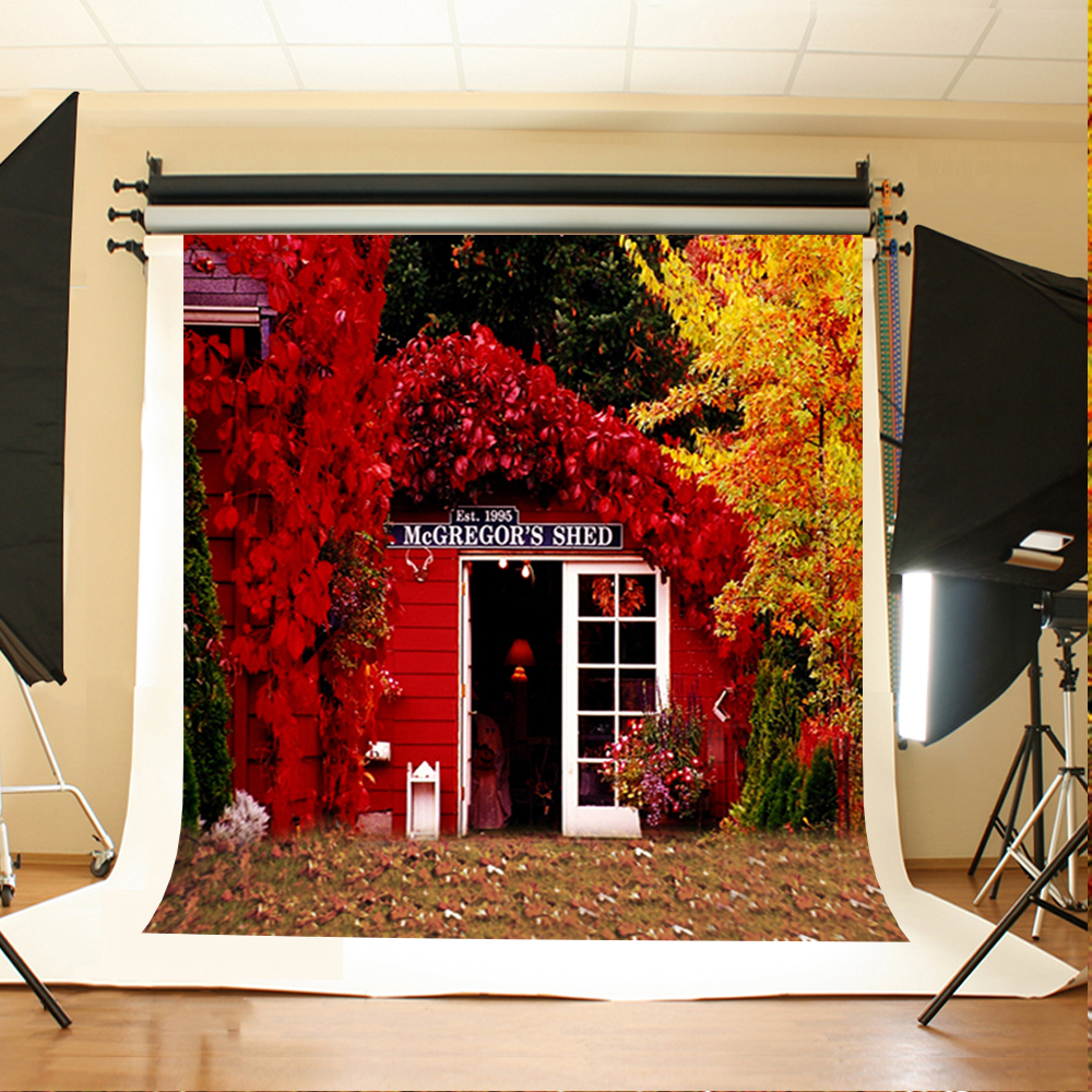 Wedding Photography Background Flowers Gray Grass Photo Booth Backdrops Red House Wedding Background for Photographic Studio