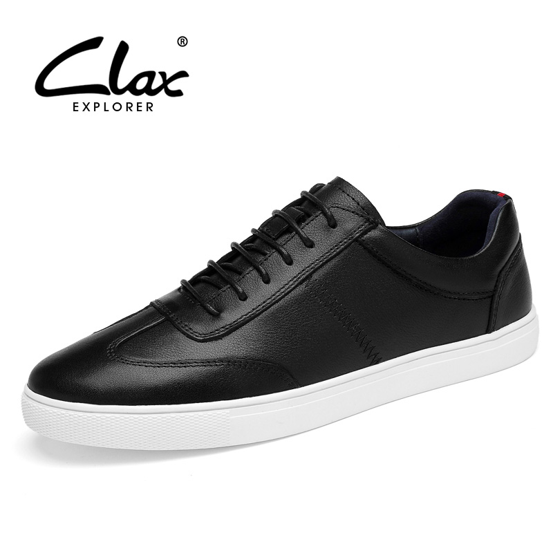 CLAX Men Casual Shoe Genuine Leather 2018 Autumn Shoes for Male White Leather Footwear Flat Leisure Shoe Soft British Tyle 2017 men genuine leather boat shoes male british style retro flat shoe fashion leisure handmade sapato masculino d30
