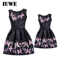 Girls Summer Dresses 2017 Pink Butterfly Black Children Kids Clothes For Teenager Family Clothing Mother Daughter