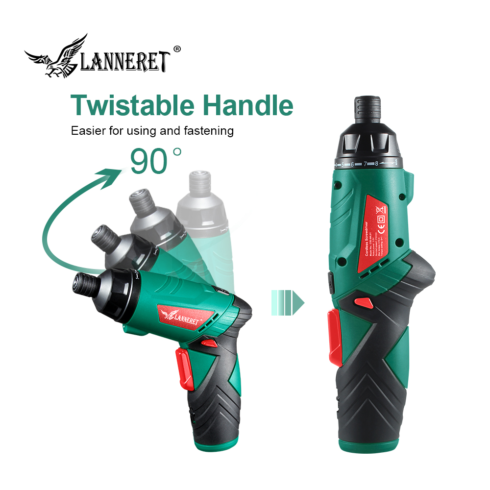 Image 4 - LANNERET 3.6V Cordless Electric Screwdriver Lithium Ion Household Multifunction Drill/Driver Power Gun Tools LED Light-in Electric Screwdrivers from Tools on