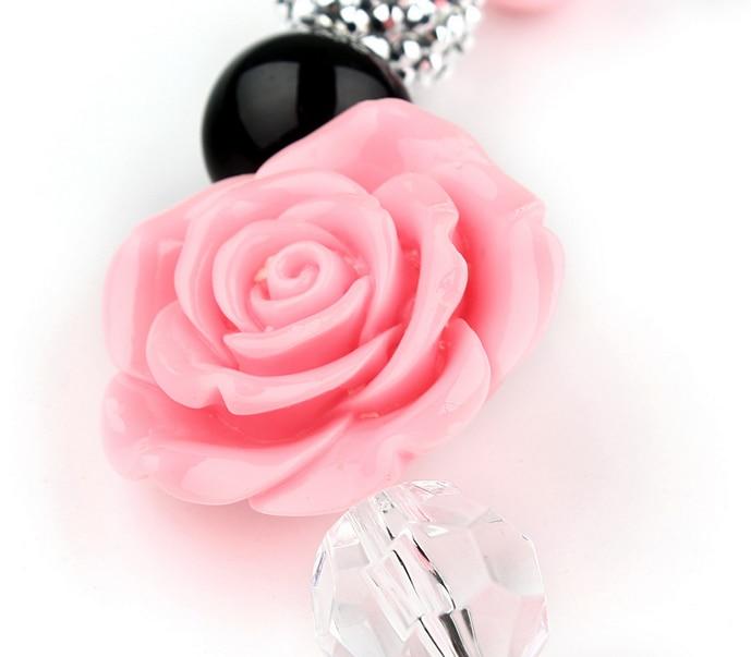 Gadis Indah Pink Flower Beads Chunky Strand Kalung Gelang Set Anak - Perhiasan fashion - Foto 5