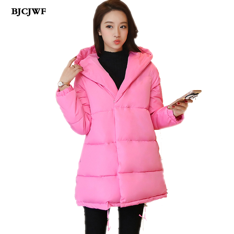 BJCJWF Women's Winter Jacket Pink girl coat 2017 New fashion cute loose parkas hooded Cotton Thick jacket button jacket women free shipping winter girl stripe cute doll skirt cotton quilted jacket
