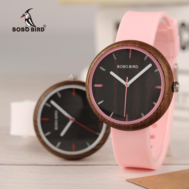 Relogio Feminino BOBO BIRD Wood Women Watches Silicone Band Quartz Wristwatches In Wooden Gift Box Reloj Mujer Drop Shipping