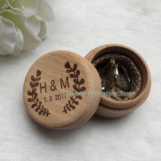 Personalized Round Wedding Wooden Ring Box Bearer Rustic Holder Custom