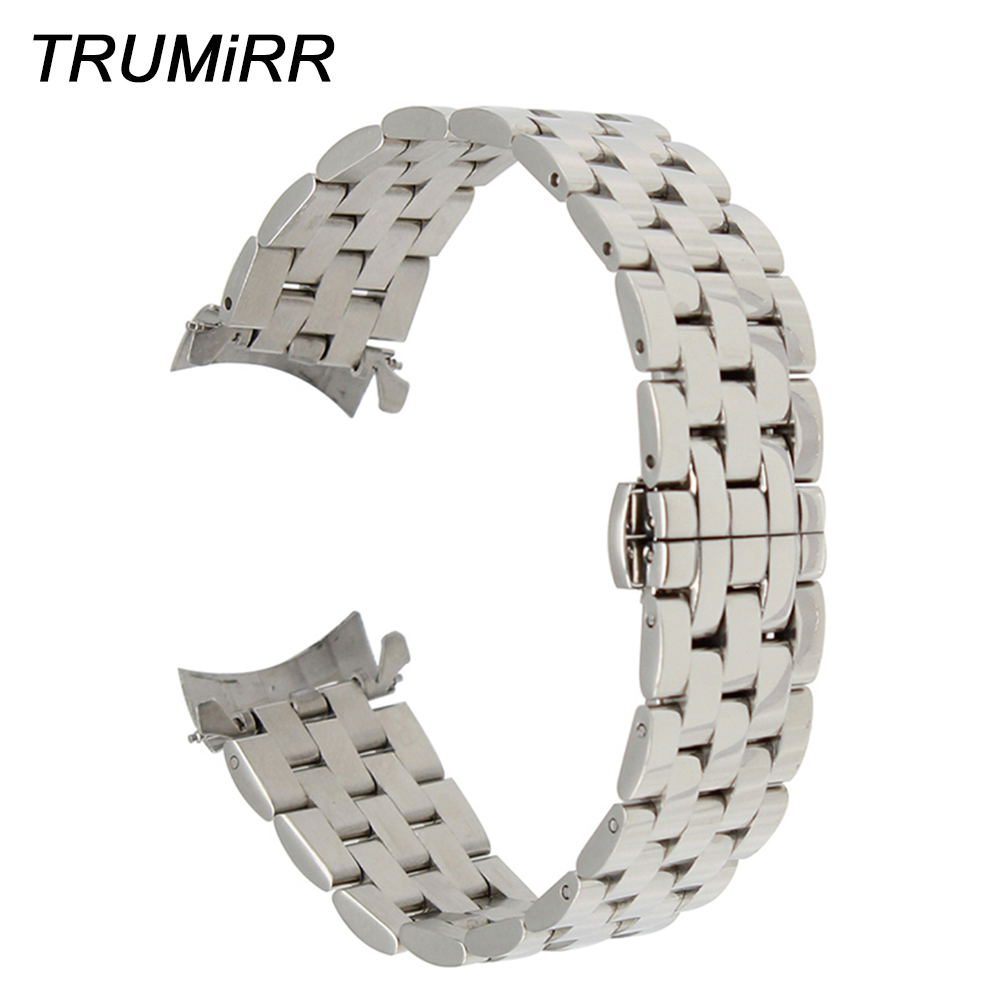 Curved Stainless Steel Watchband 18mm 20mm 22mm 24mm for T035 PRC200 T055 T097 Watch Band Butterfly Buckle Strap Wrist Bracelet image