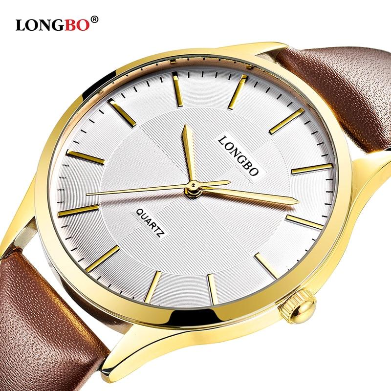 2018 Longbo Luxury Quartz Watch Casual Fashion Leather Strap Watches Men Women Business Couple Sports Analog Wristwatch Gift