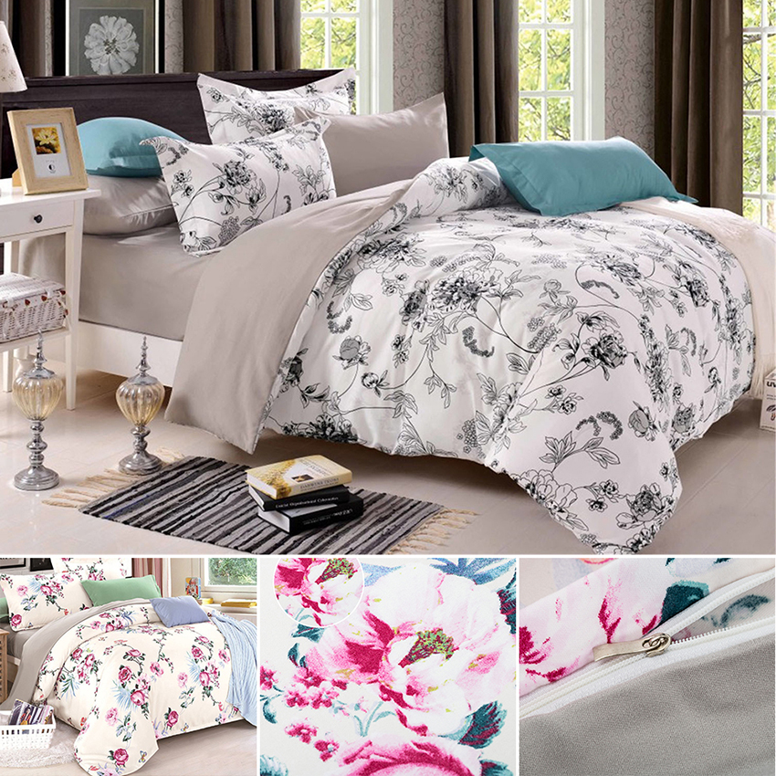 Printed Bedding Set Chinese Comforter Sets Cover Country Quilts Reversible Duvet Cover Bedding Set Cotton Queen Size/King Size