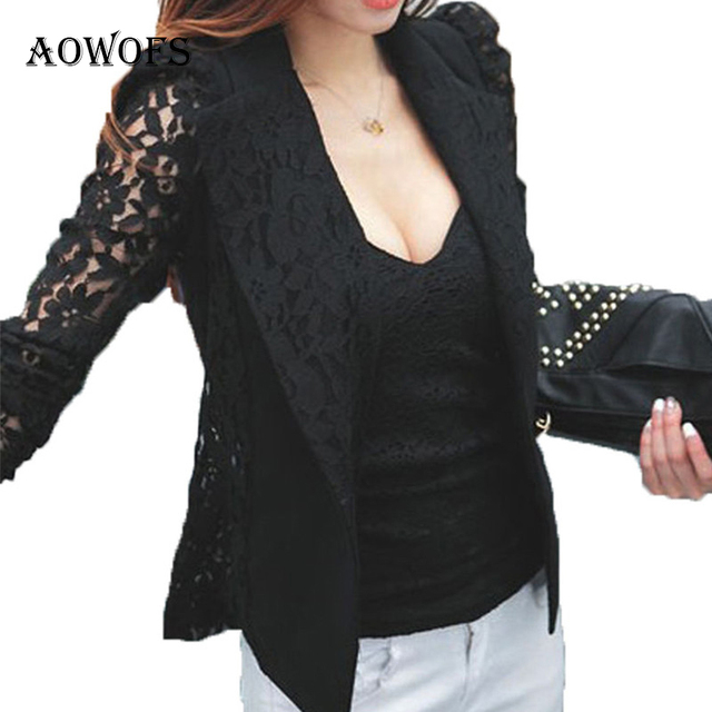 Great Price Women Blazers Suits Black Sheer Lace Patchwork Blazer Coat Lady Suit Outwear Women OL Formal Slim Jacket