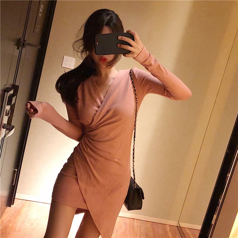 Mazefeng Autumn New Fashion Dresses Long sleeves  Female Solid Sexy Dress Ladies Hip Package Buttocks Women Mini