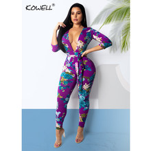 2094cee9fda 2018 New Sexy Women Autumn Purple Jumpsuits Deep V Neck Floral Print Long  Sleeve Party Romper Playsuit Skinny Jumpsuits Overalls