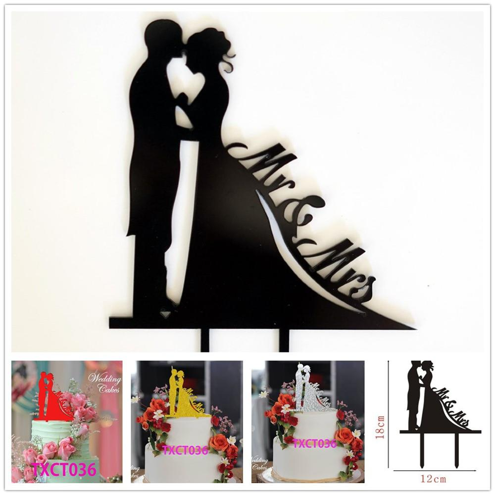Free Shipping Black/Silver/Gold/Red Acrylic Mr & Mrs Cake Topper ...