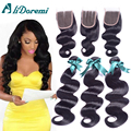 Brazilian Body Wave With Closure 3 Bundles Brazilian Virgin Hair Body Wave With Closure 7a Grade Unprocessed Human Hair Weave