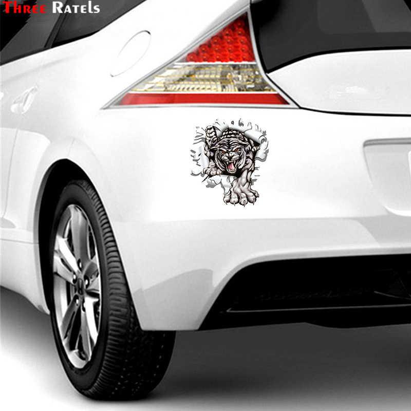 Tiga Ratels LCS271 15X17.1 Cm Tiger Di Lubang Peluru Warna-warni Mobil Stiker Mobil Lucu Stiker Penataan stiker Yang Bisa Dilepas