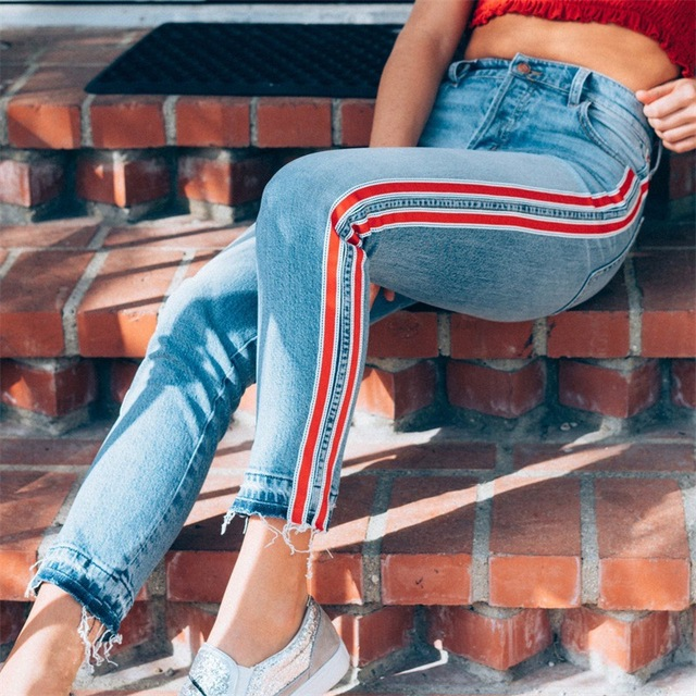 2019 Autumn Fashion Skinny Jeans Women red line distressed vintage street  style ladies denim Ripped jeans for women trouses