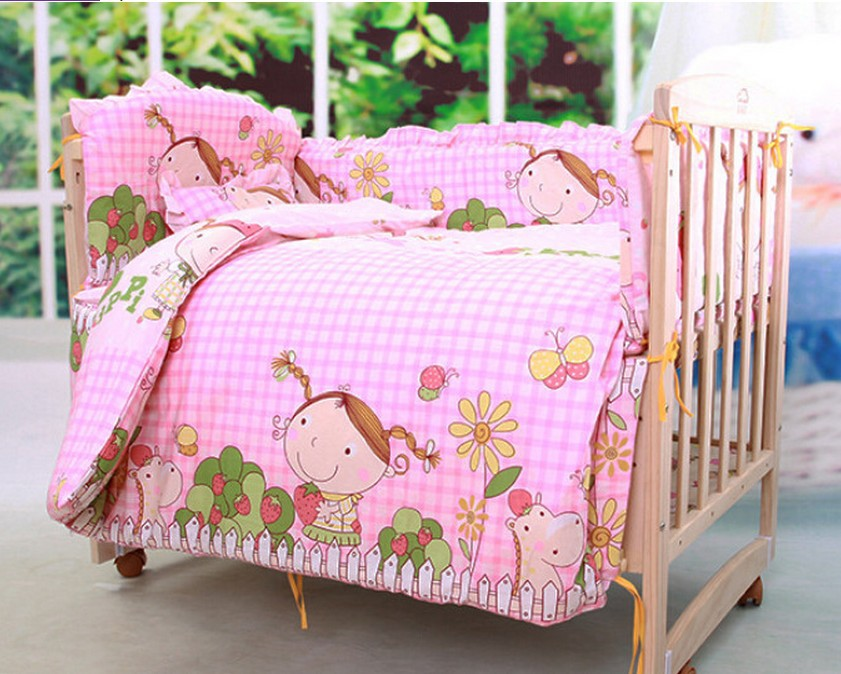 Promotion! 6PCS Baby Bedding Sets Comforter Cotton Baby Crib Bedding Sets baby bedclothes (3bumper+matress+pillow+duvet) ...