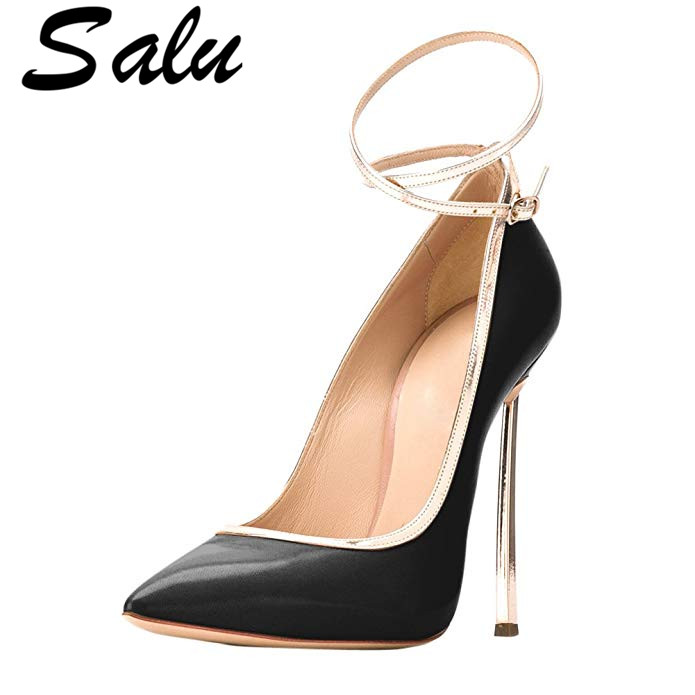 Salu Woman Plus Size 33 43 High Heels Shoes Sexy Black Valentine Shoes Metal Decoration Pointed
