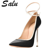 Salu Woman Plus Size 33 43 High Heels Shoes Sexy Black Valentine Shoes Metal Decoration Pointed Toe Wedding Pumps