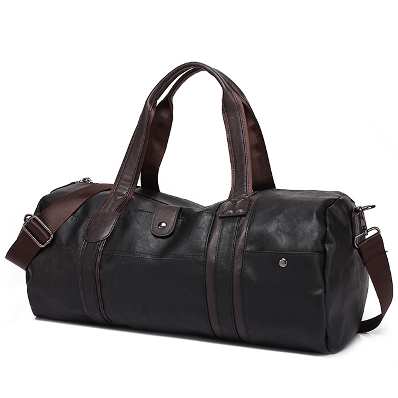 Hot Men\'S Large Capacity PU Leather Sports Bag Gym Bag Fitness Sport Bags Travel Shoulder Handbag Male Bag Black Brown