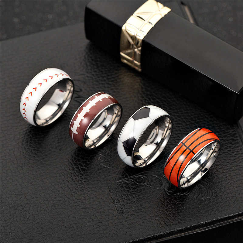 Ball ring baseball football basketball rugby soccer jewelry Stainless Steel Rings fashion Sports Male Simple Men Women