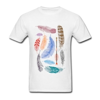 New Design Men T Shirt Printing Short Sleeve Birds Feather T Shirt Men Harajuku Cotton Clothing