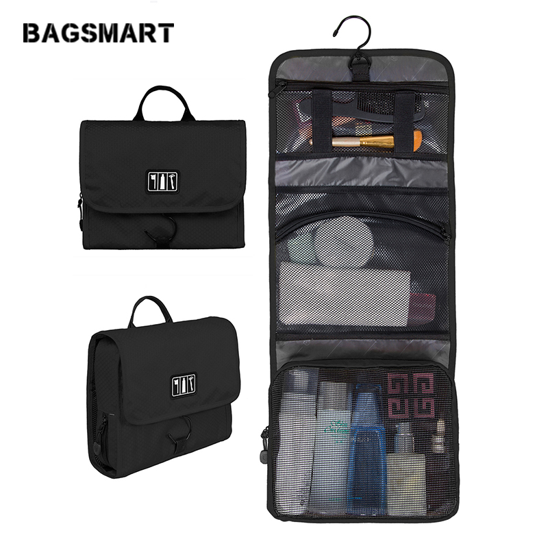 BAGSMART New Ladies Makeup Organizer Travelling Necessaries For Women Toiletry Black Red Cosmetic Bag Portable Travel Necessary