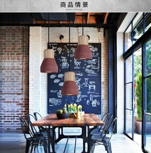 Image 4 - Country Style cement Led Pendant Light 120cm wire E27 Socket Droplight wood indoor Decoration kitchen Hanging Lamp ZDD0023