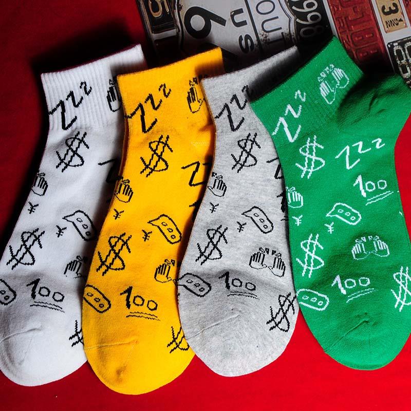 Letter Patternshort Cartoon Socks Art Print Cotton Thin Section Summer Socks Kawaii Funny Socks