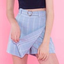 Летние новые женские трапециевидные юбки, женские клетчатые тонкие новые корейские модные мини юбки выше колена с поясом, ампир, шорты, юбки в консервативном стиле