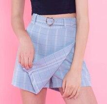Новые летние женские Шифоновая юбка женщин плед тонкий новый корейский мода пояса длиной выше колена Мини-юбки Империя шорты юбки опрятный