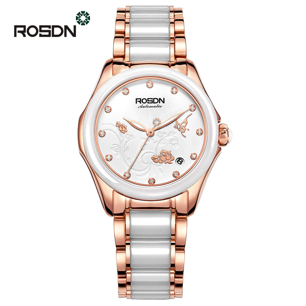 ROSDN Ceramic Women Watches Luxury feminine watch Sapphire Crystal Shell Dial Elegance Ladies Hollow Self-wind Mechanical Watch