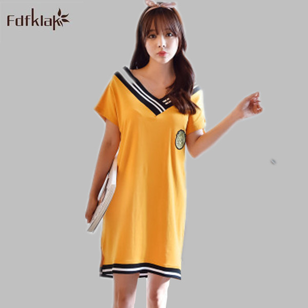 Women Nightgowns Summer Short Sleeve Nightshirts Cotton Large Size Sleepwear Ladies Homewear Clothes Night Dress Sleepshirts E87