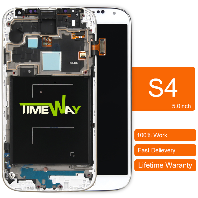 ФОТО DHL 5pcs Mobile Phone LCD alibaba china highscreen clone For Samsung S4 I9500 Lcd Screen Digitizer +frame Assembly