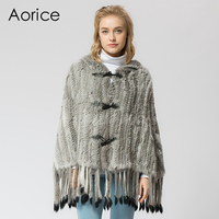 SRR001 Real Knitted Rabbit Fur Shawl Poncho Stole Shrug Cape Robe Tippet Wrap Russian Women S