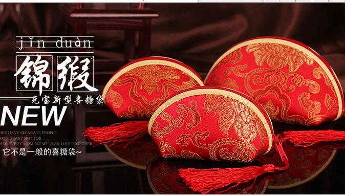 red CHINESE HANDMADE classic shell mini silk bag purses wallet coin purse with tissue