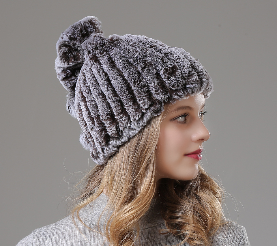 Womens Winter Hats Scarf Knitted Real Rabbit Fur Hat Natural fur Neck Scarf Girls Winter Warm Hat Beanies (6)