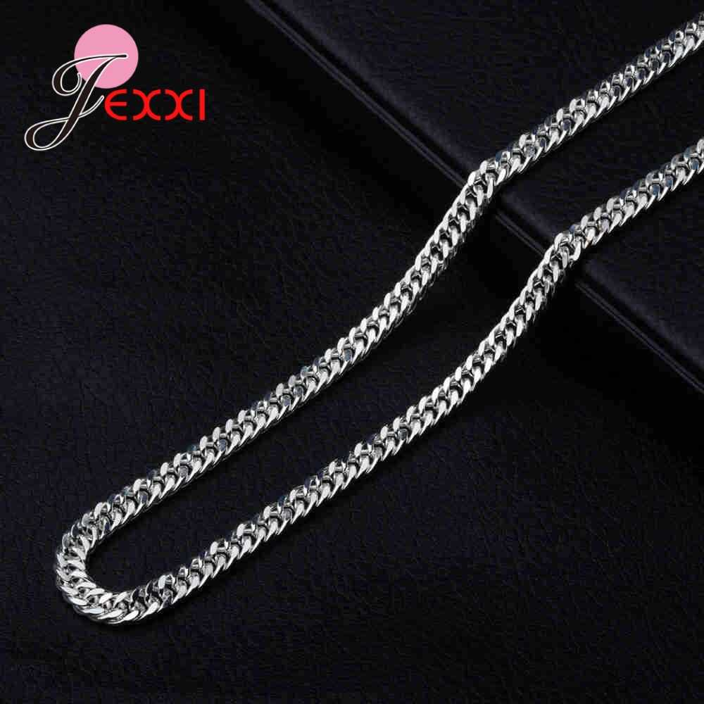 54ae63021d92 ... JEXXI Luxury Fashion Charm Style Geniune 925 Sterling Silver Long  Necklace Curb Chain for Women Men ...