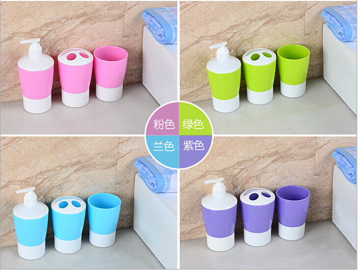 2015 colorful bathroom accessories soap dispens toothbrush