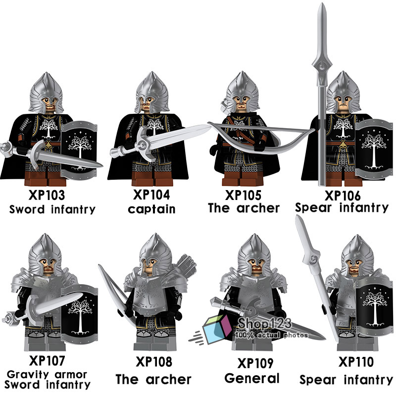 Model Building Lovely 8pcs/lot Medieval Castle Knights Legoings Lord Of The Rings Captain The Archer Spear Sword Infantry Building Block Toys Kids Relieving Heat And Thirst.