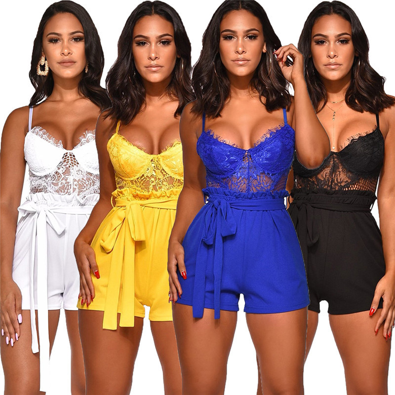 Summer Ladies Sexy Lace Openwork Stitching Playsuits Solid Color High Waist Straps Slim Flower   Jumpsuit   V-neck Sling Playsuits