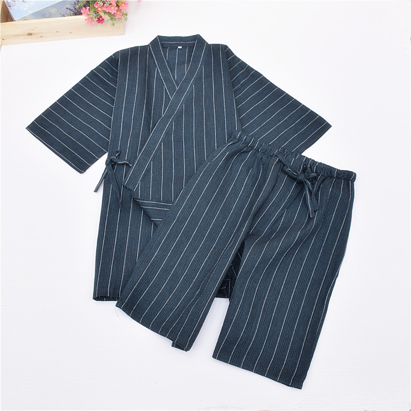 Men's Pajama Sets Kimono Pajamas For Men 100% Cotton Cloth Kimono Stripe Robe Short-sleeve Half Pants Pyjamas Men Lounge Pajama Set Underwear & Sleepwears