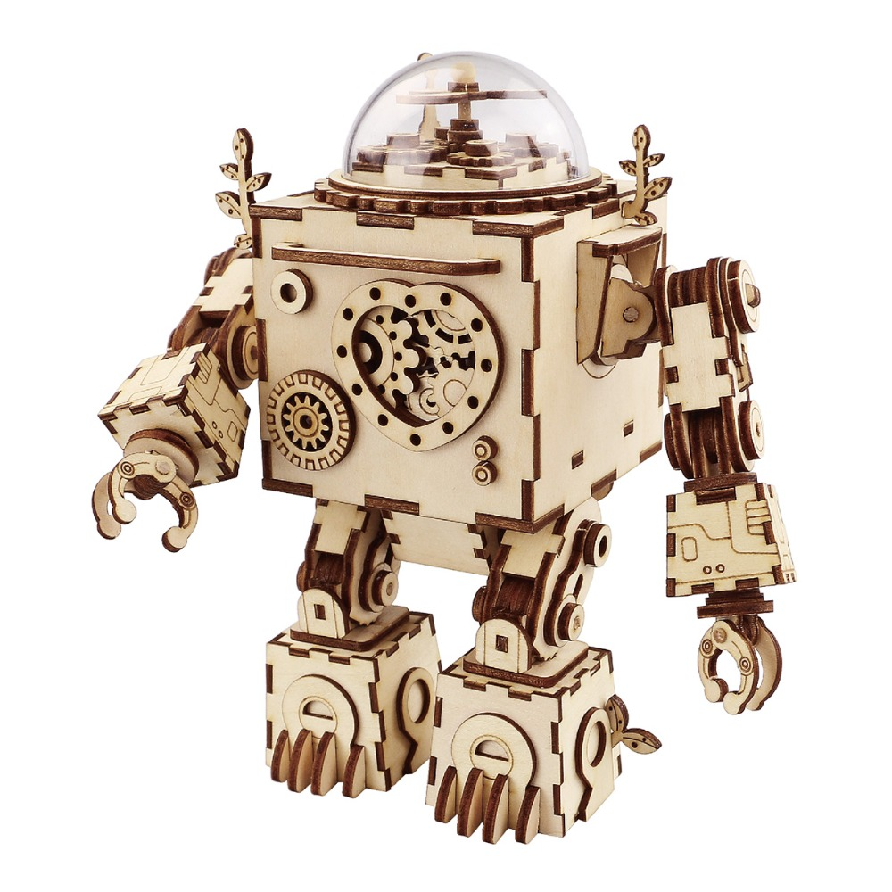 Robotime DIY Action & Toy Figure Steampunk Rotatable Robot Wooden Clockwork Music Box Perfect Gifts For Friends Children AM601