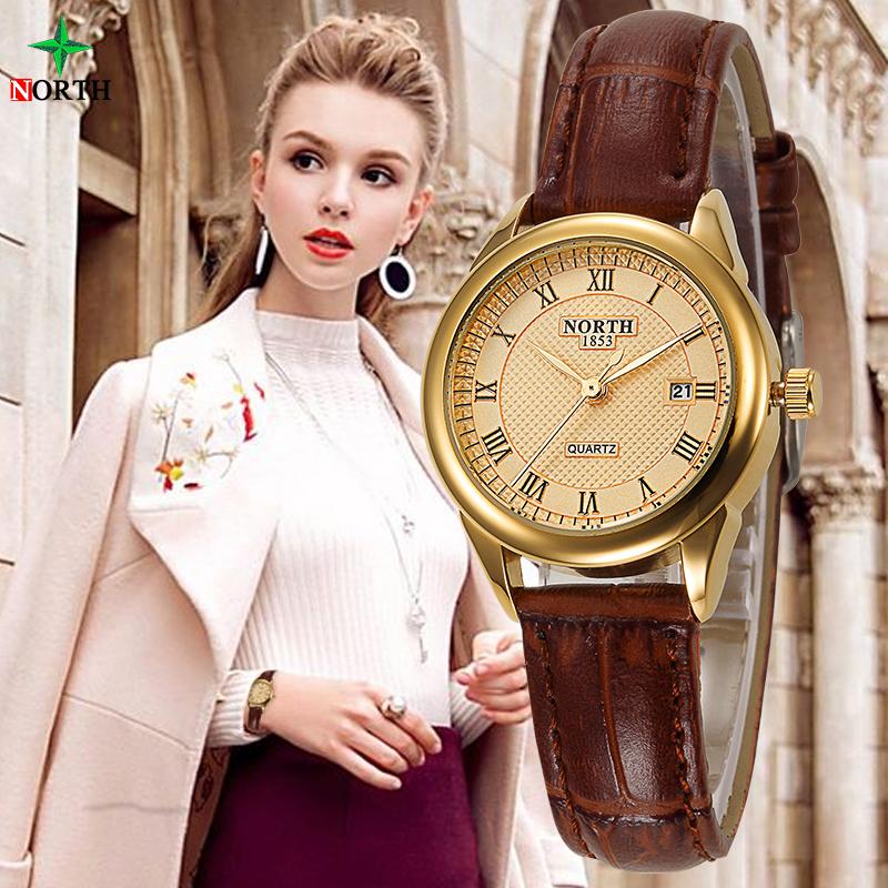 Prix pour NORD Femmes Mode Casual Montre 30 M Étanche Véritable En Cuir Femme Lady Clock Or 2017 Quartz Montre-Bracelet D'affaires Femmes