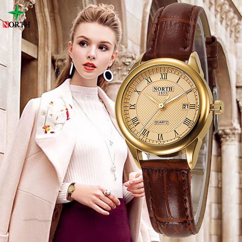 NORTH Women Fashion Casual Watch 30M Waterproof Genuine Leather Female Lady Clock Gold 2017 Quartz Business