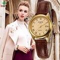 North mulheres moda casual assistir 30 m à prova d' água senhora relógio de ouro do sexo feminino de couro genuíno 2017 negócio de quartzo relógio de pulso das mulheres