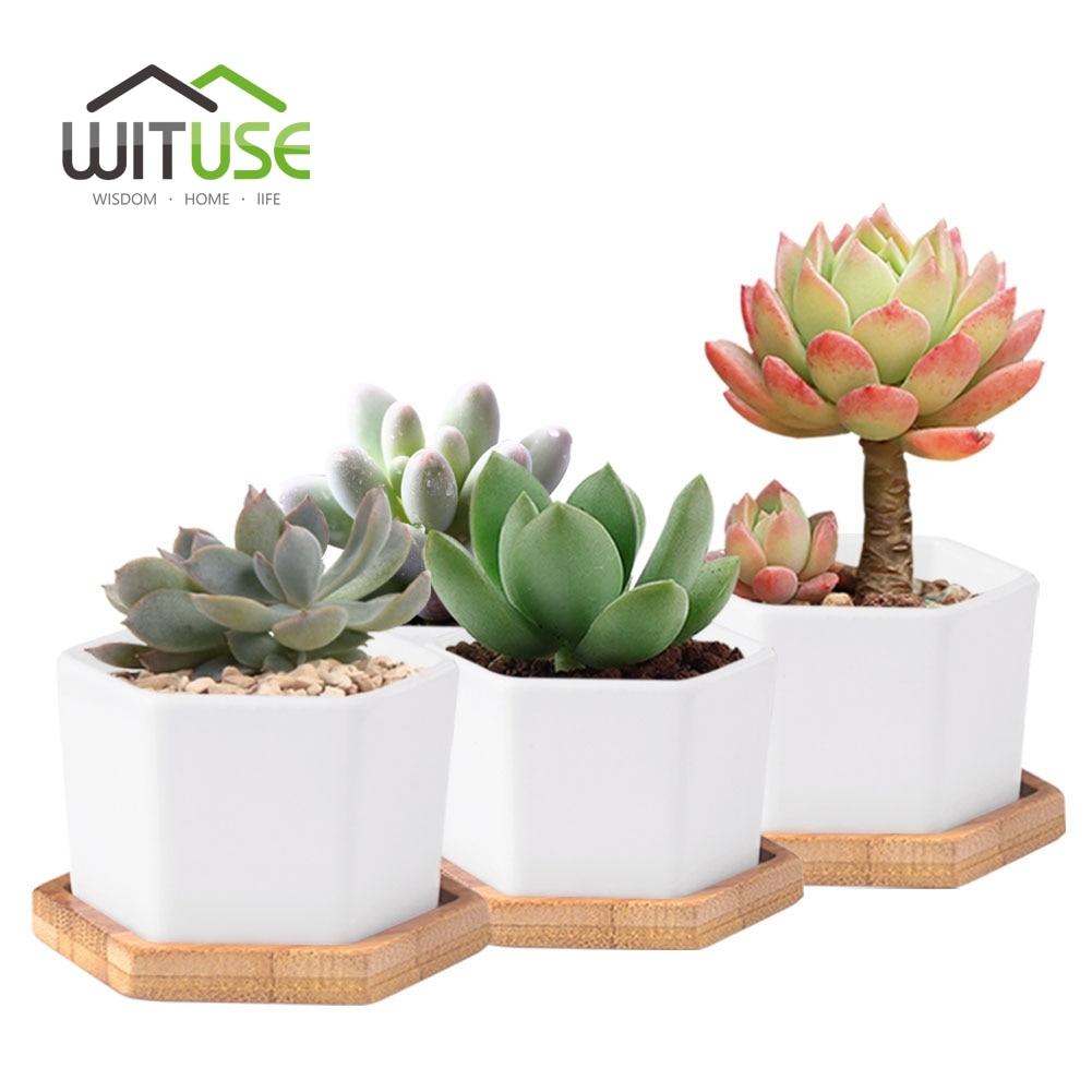 WITUSE 4 Stücke Keramik Blumentopf Zimmerpflanze Einfachheit die Garten Topf Farn / Sukkulenten Pflanzer Bonsai Blumentopf und Bambus Tablett