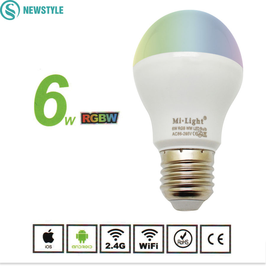 Dimmable MiLight Led Bulb 6W 9W E27 RGBW RGBWW Led Lamp AC86-265V  Smart Led Light Bulb for 2.4g Led Remote Control gu10 e14 e27 led bulb mi light 2 4g 4w 5w 6w 8w 9w ww cw rgbw rgbww led lamp intelligent wireless control lamp ac85 265v