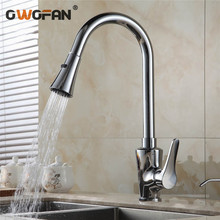 Kitchen Faucets Silver Single Handle Pull Out Taps Hole Swivel 360 Degree Water Mixer Tap N22-013