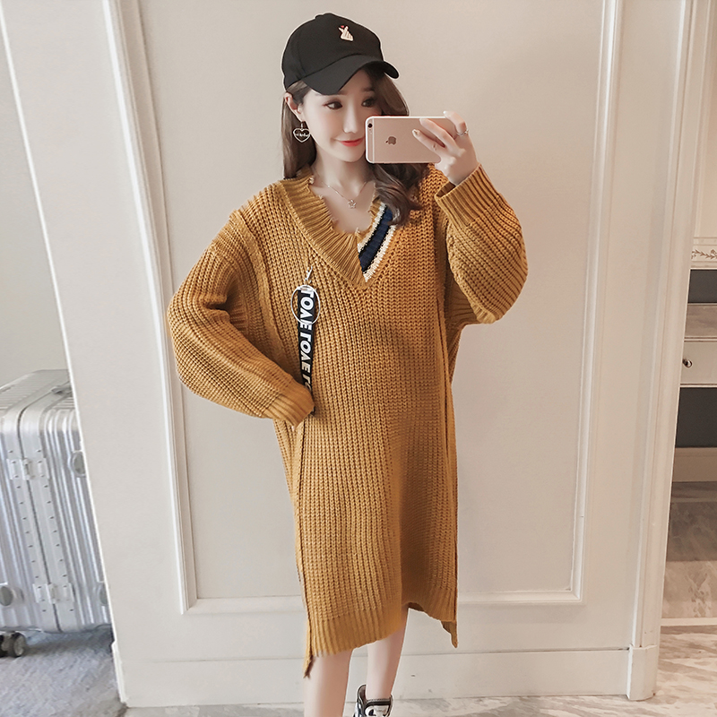 Maternity clothing autumn and winter thicker models pregnant women sweater pregnant women knitted sweater long section dress