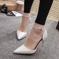 Mujer Zapatos de La Boda de Plata de Tacón Alto Zapato con Cierre Bombas Zapatos Del Barco Blanco de Oficina Vestido de Las Mujeres de Los Altos Talones zapatos mujer 3333